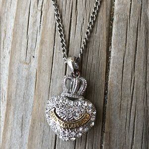 Juicy Couture Pave Crystal Crowned Heart Necklace!